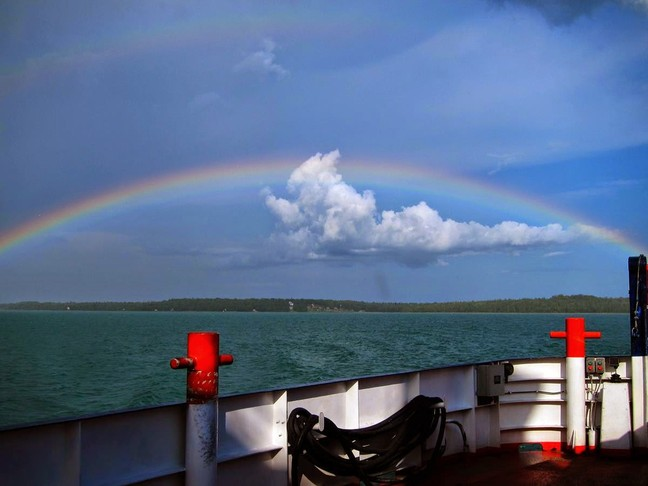 Rainbow over the Drummond Island Ferry by Donna Alexander